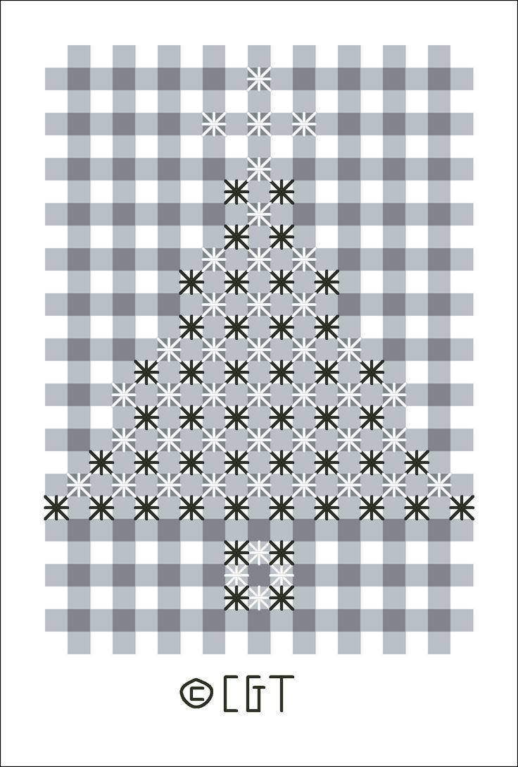 Christmas tree gingham 'chicken scratch' embroidery- could make into a hanging ornament