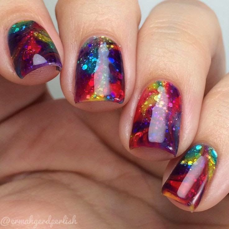 Digg women 39 s fashion multicolored swirl nail art design Fashion style and nails facebook
