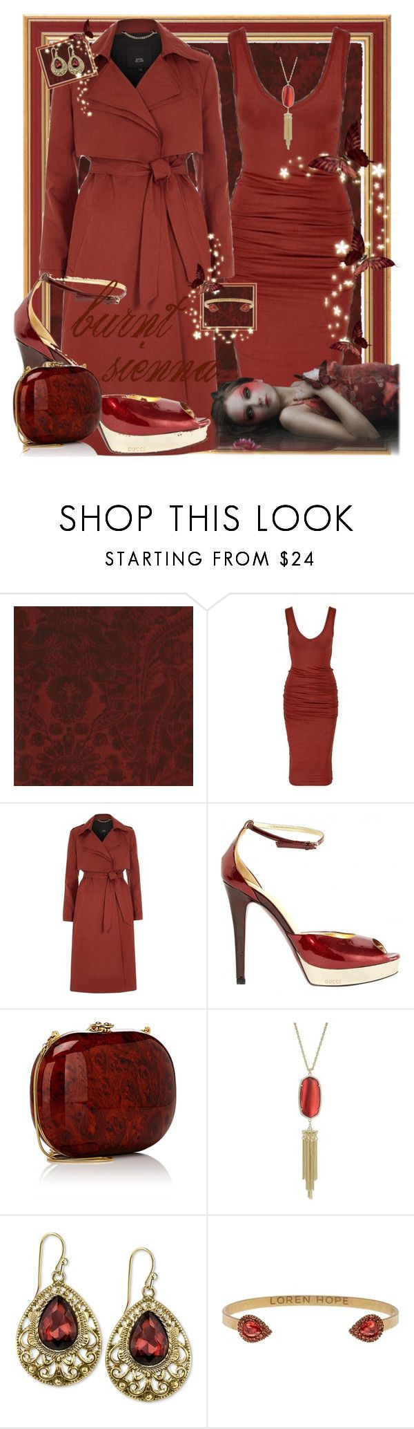 """burnt sienna"" by traceyenorton ❤ liked on Polyvore featuring Andrew Martin, River Island, Gucci, Jeffrey Levinson, Kendra Scott, 2028 and Loren Hope"