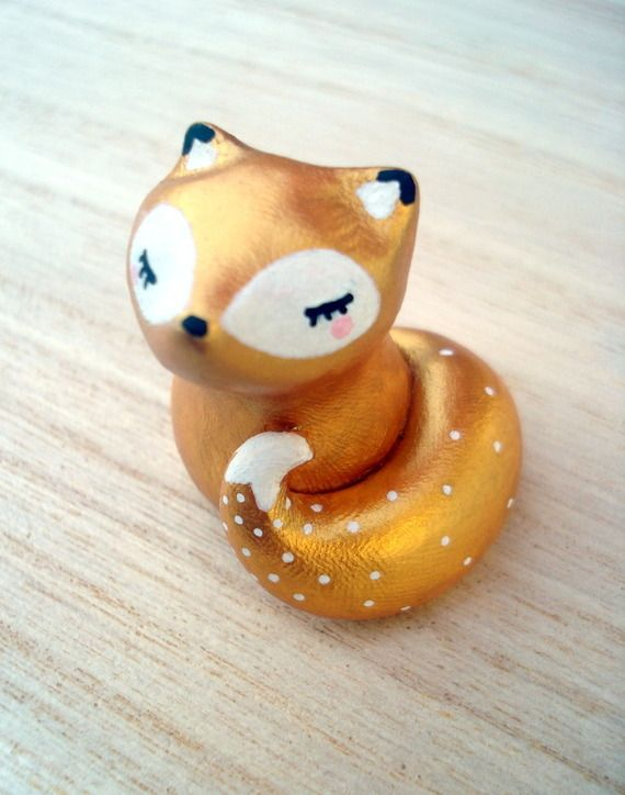 """Totem de poche """"Mon trésor"""" renard doré oMamaWolf figurine en céramique"""