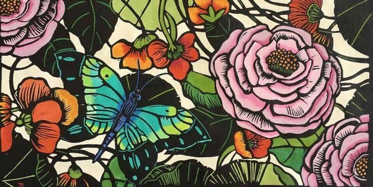 Linocut by artist Jude Rose - Call (02) 99734268 for enquiries - AVAILABLE - #rustic #furniture #homewares #gifts #countryhome #old #vintage #retro #original #art #linocut #linocutart #artist #floralart
