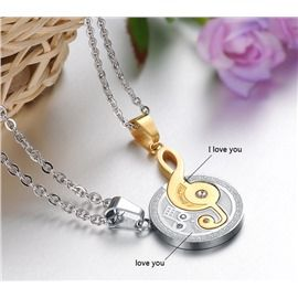 Romantic Musical Note Pair Necklaces For Lovers and Couple(Golden)