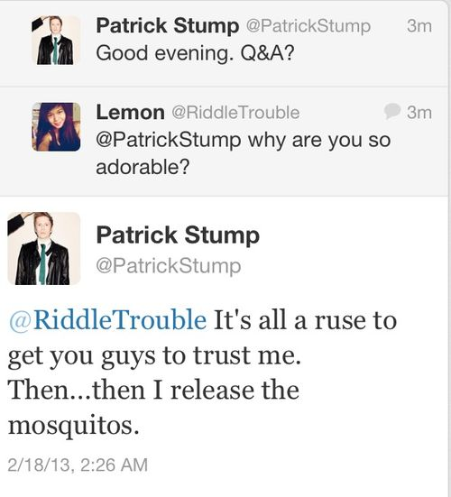 patrick stump quotes | tweet fob fall out boy i love him Patrick Stump