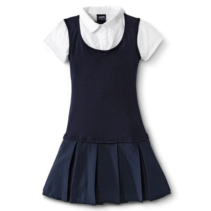<p>The 2-Fer Pleated Dress from French Toast is perfect for the style savvy girl. This one-piece creates a sophisticated look of 3 layers. The soft mix of fabrics makes it extra comfy for school and fun.</p><p>• 100% polyester</p><p>• Machine washable</p><p>• Layered look</p><p>• Mock...