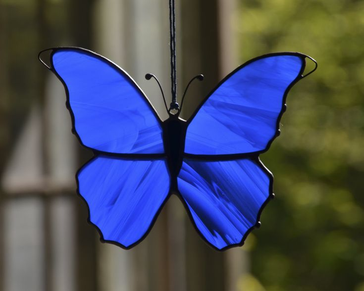 Stained glass butterfly suncatcher, hanging glass morpho butterfly, stained glass ornaments, garden decoration, Tiffany glass