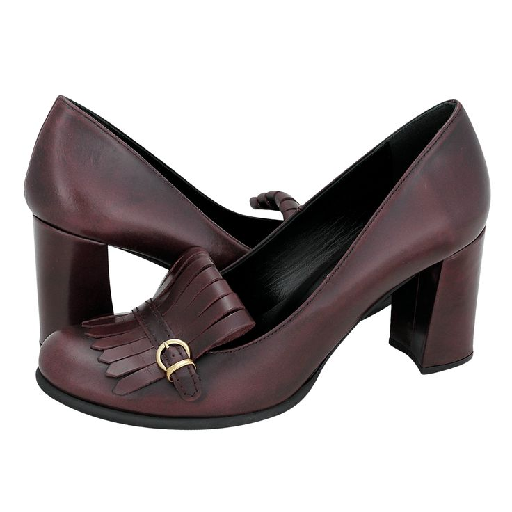 Girmont - Γυναικείες γόβες Nelly Shoes από δέρμα με δερμάτινη φόδρα,  συνθετική σόλα και τακούνι 8 cm.  Διατίθεται σε χρώμα Μαύρο και Μπορντώ.