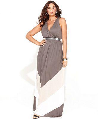 INC International Concepts Plus Size Dress, Sleeveless Colorblock-Stripe Maxi - Plus Size Dresses - Plus Sizes - Macy's