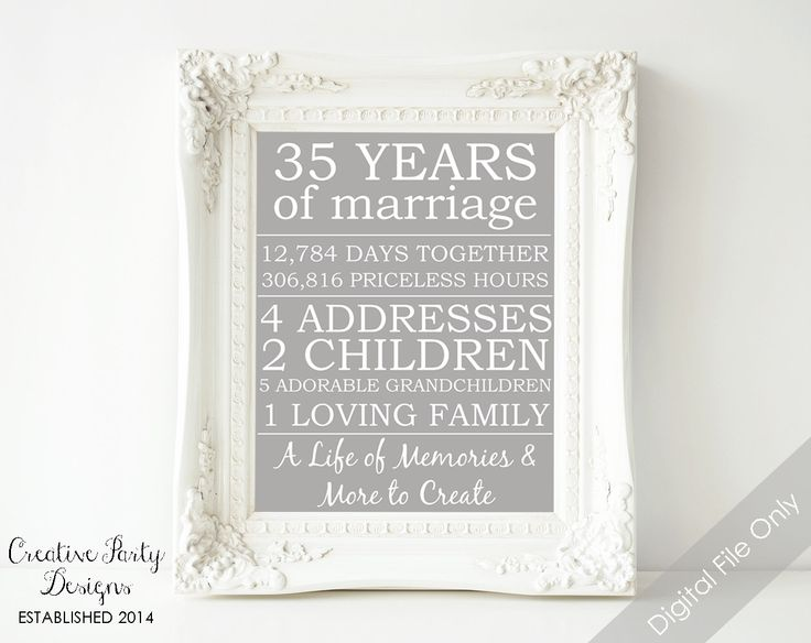 Gift Ideas For Parents 35th Wedding Anniversary : 35th wedding anniversary gift anniversary gifts for parents gift for ...