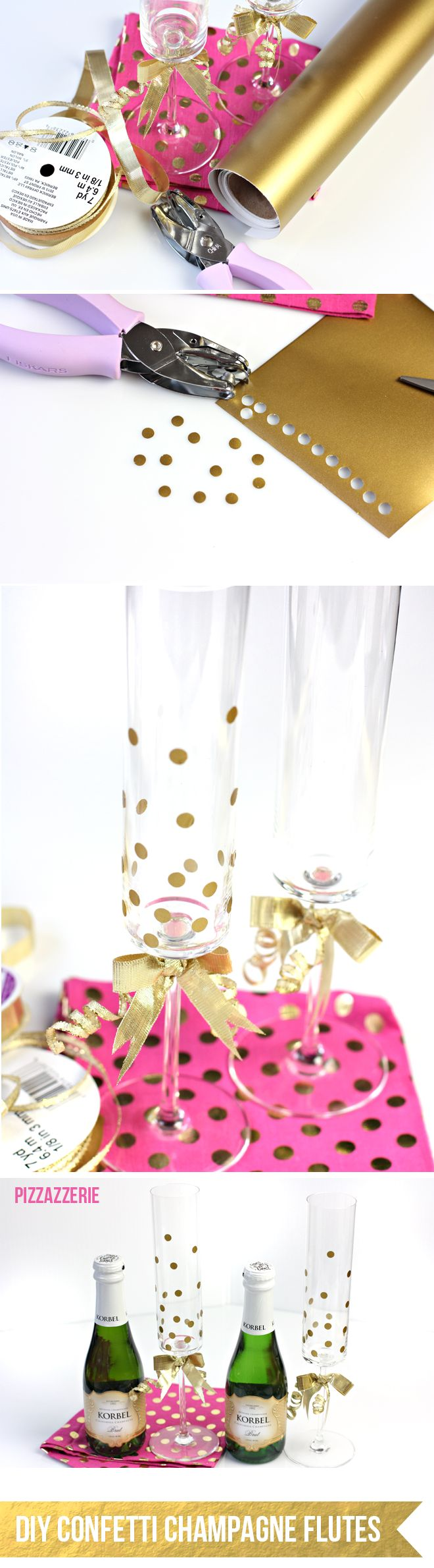 Tutorial: DIY How to make Gold Confetti Champagne Flutes!