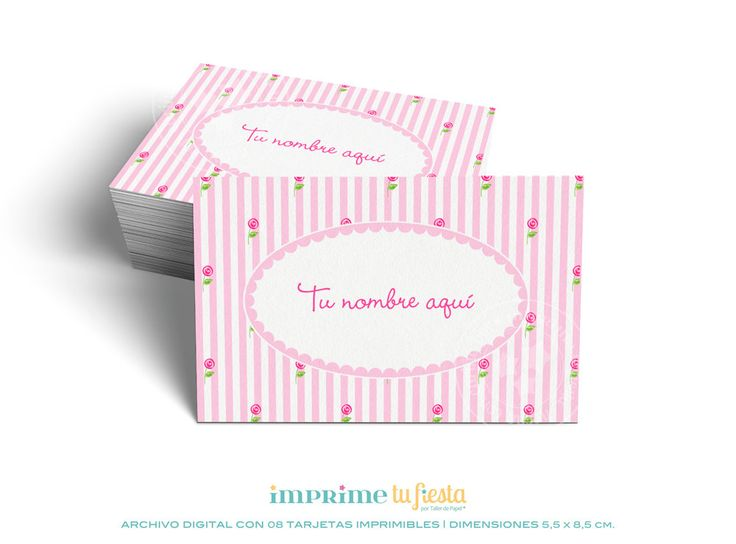 Printable BUSINESS CARDS  | Romantic Pink Flowers with Stripes | Prints as many times you want | 8 Completely CUSTOMIZED cards for you! - pinned by pin4etsy.com