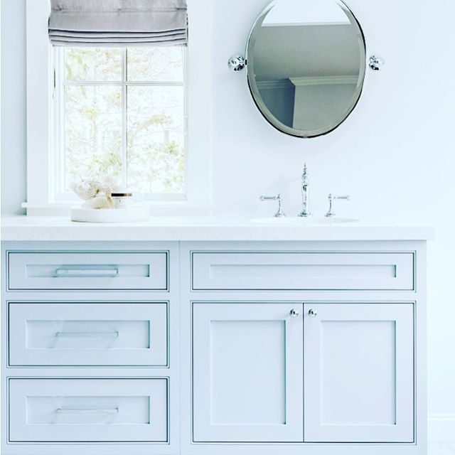 { S E R E N I T Y } We are absolutely loving the Spring 2016 Pantone colourways.  Evoking a calming effect, Serenity brings a feeling of respite during stressful times. A transcendent blue, Serenity creates a sense of space.  This gorgeous vanity designed by @acquireboston is right on trend - Happy Wednesday xxxx #pantone