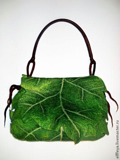 """Сумочка """"Подвижный эльф.."""" - зелёный,однотонный,сумочка-лист,зеленый лист"""