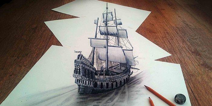 3d рисунок корабля