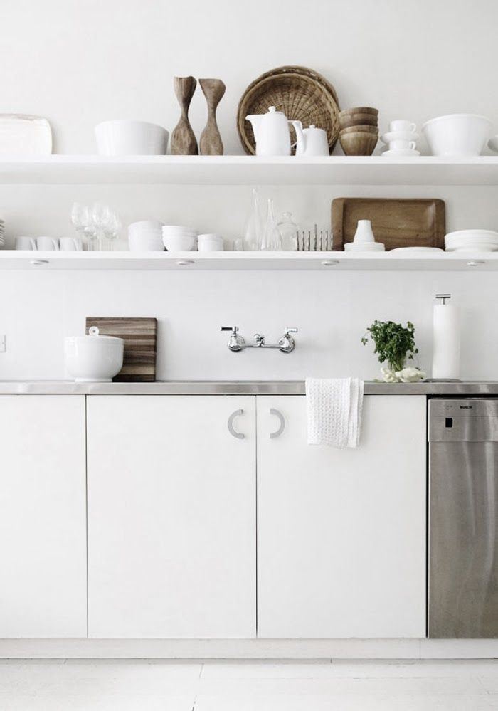 White Kitchen w/ Open Shelving//