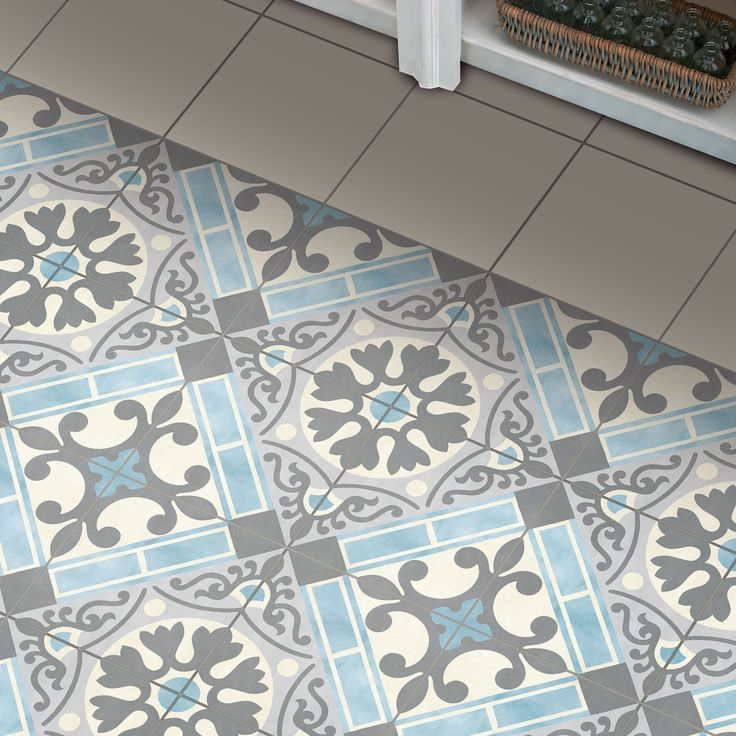 The SomerTile 17.63x17.63-inch Jive Azul Ceramic Floor and Wall Tile offers a scored, pastel colored tile that has a traditionally intricate design. Since this tile is semi-vitreous and skid resistant, it is safe to put anywhere inside your home.