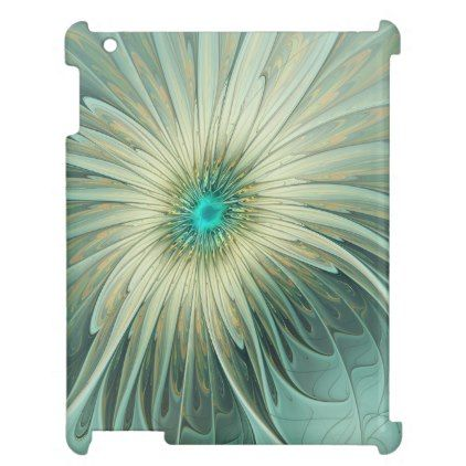 Modern Abstract Fantasy Flower Turquoise Wheat iPad Covers - cool gift idea unique present special diy