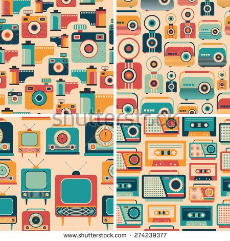Colorful set of media retro seamless patterns. #retro #retropattern #vectorpattern #patterndesign #seamlesspattern