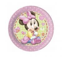 Papierové taniere Minie Baby GIRL, 23 cm, 8 ks,