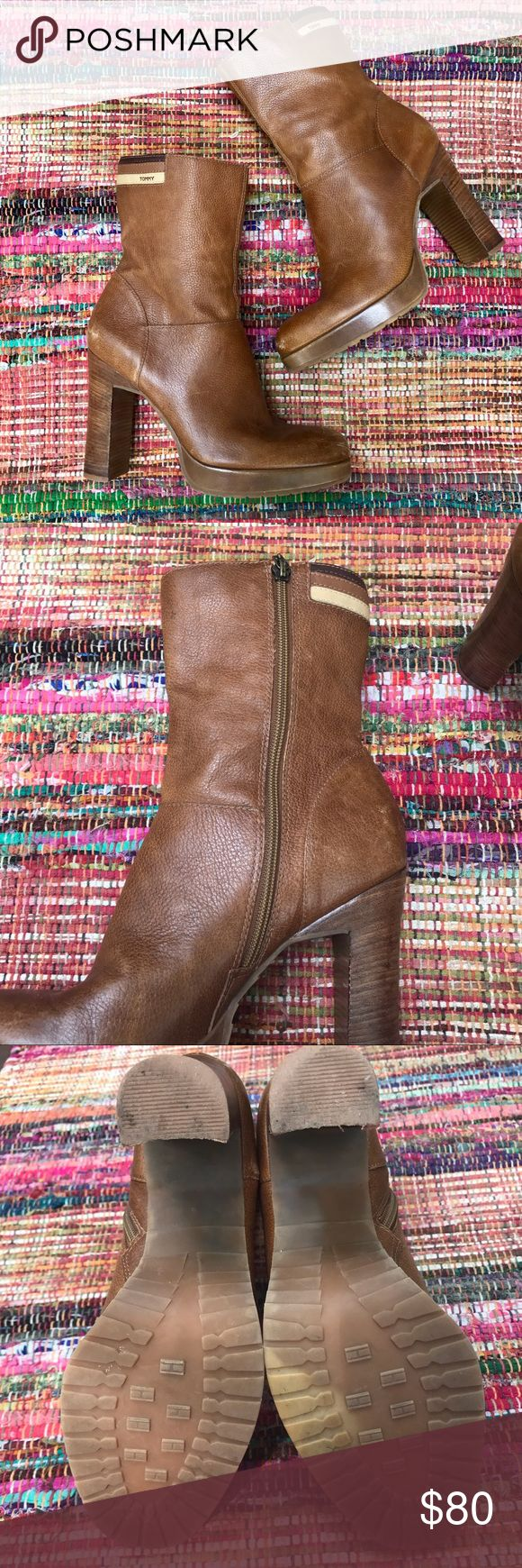 "Vintage 60's Tommy Hilfiger boots Ankle height tan leather boots zip up the side heel is 4"" - shoes some signs of ware but can be repaired - made in Brazil Tommy Hilfiger Shoes Ankle Boots & Booties"