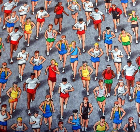 Marathon Runners Fabric Marathon Runner Material by Quiltwear