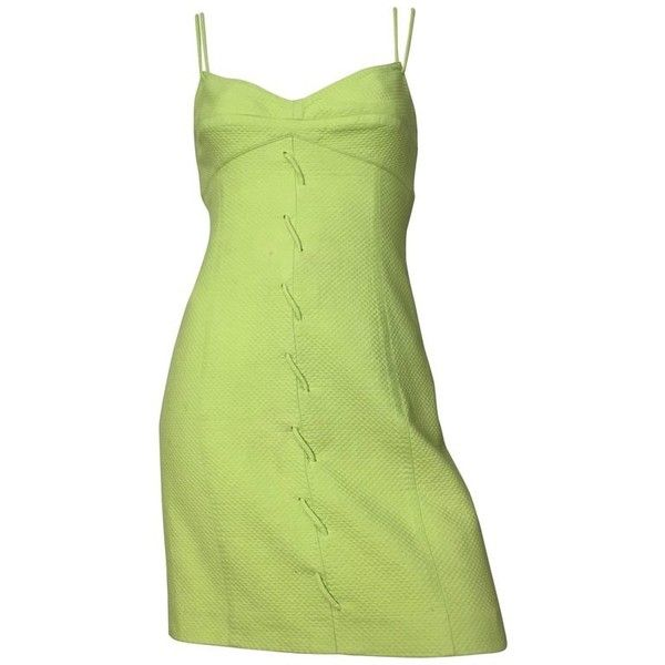Preowned Genny 1990s Neon Green Cotton Wiggle Dress Size 6. ($275) ❤ liked on Polyvore featuring dresses, aesthetic day dresses, green, preowned dresses, sexy dresses, neon green dress, cotton day dress and lining dress