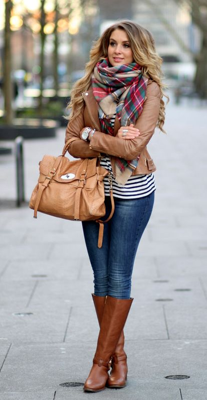 mixing stripe and tartan with tan coloured leather   fall style