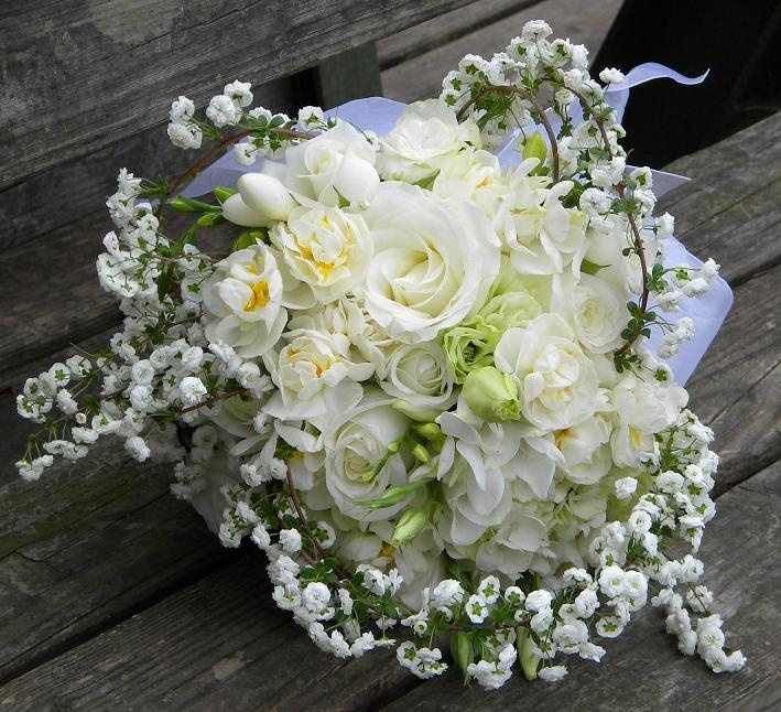 Bridal Wreath Spirea and Bridal Crown Narcissus Bouquet