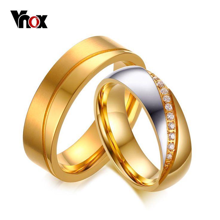 Vnox trouwringen voor vrouwen/mannen inlay cz stones rvs verlovingsringen sieraden