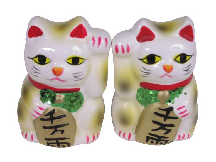 Miniature White Maneki Neko Statue