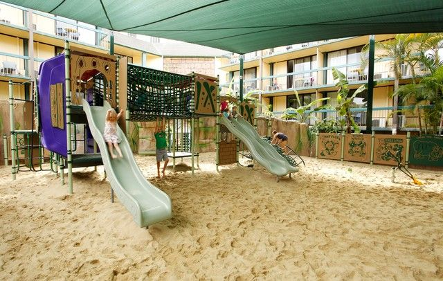 The older kids have their own outdoor play area to blow off a bit of steam.
