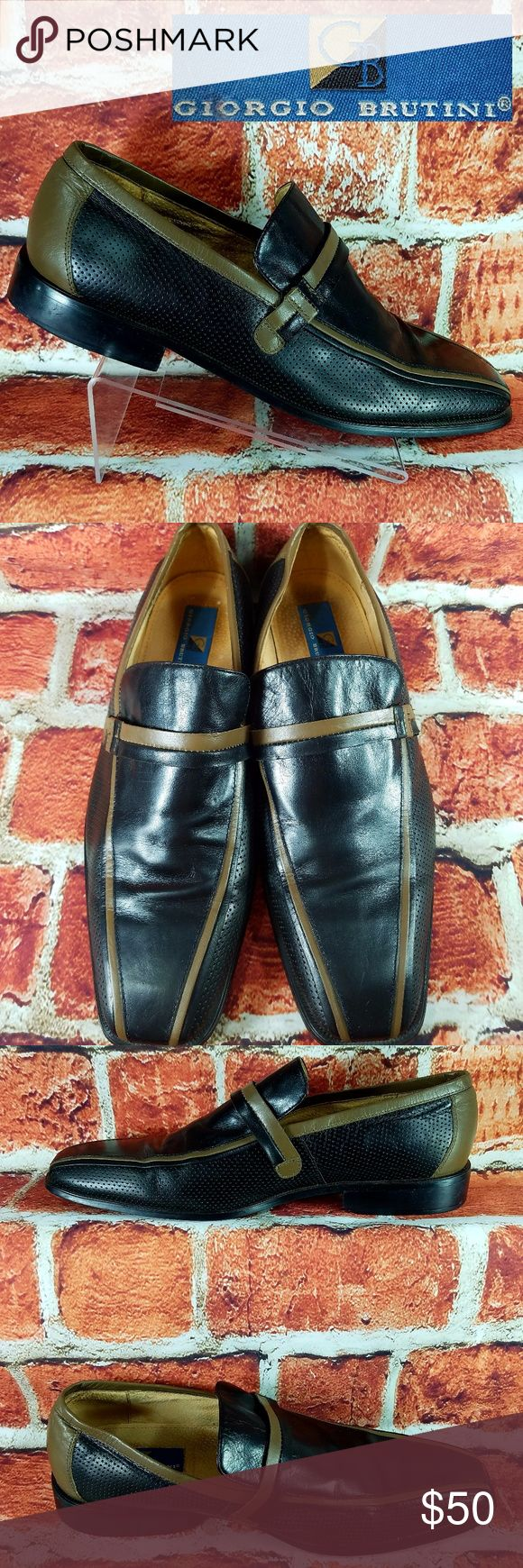 Giorgio Brutini Size 13 Giorgio Brutini Men Slip On Oxfords Loafers Size 13 Black Brown Dress Shoes Giorgio Brutini Shoes Loafers & Slip-Ons