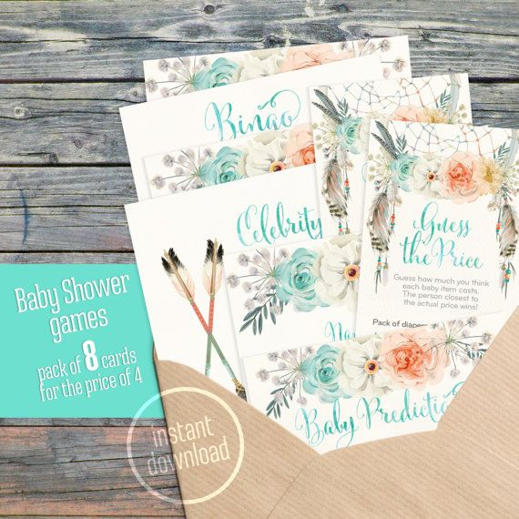 Pack of 8 baby shower games bundle watercolor boho pink mint