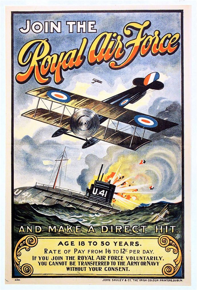World War I Recruitment Poster for the Royal Air Force, possibly for recruitment in Ireland (© McLean Museum and Art Gallery, Greenock)