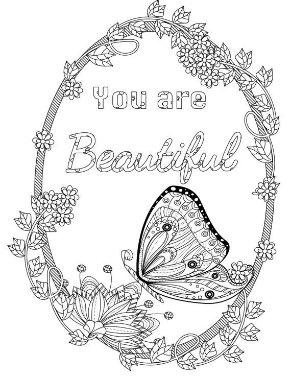 Coloring inspirational quotes you are beautiful the for Positive quotes coloring pages