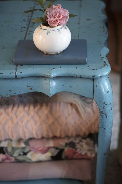 By hollie wood style - i love this sort of coffee table, shabby chic, rustic, romantic...