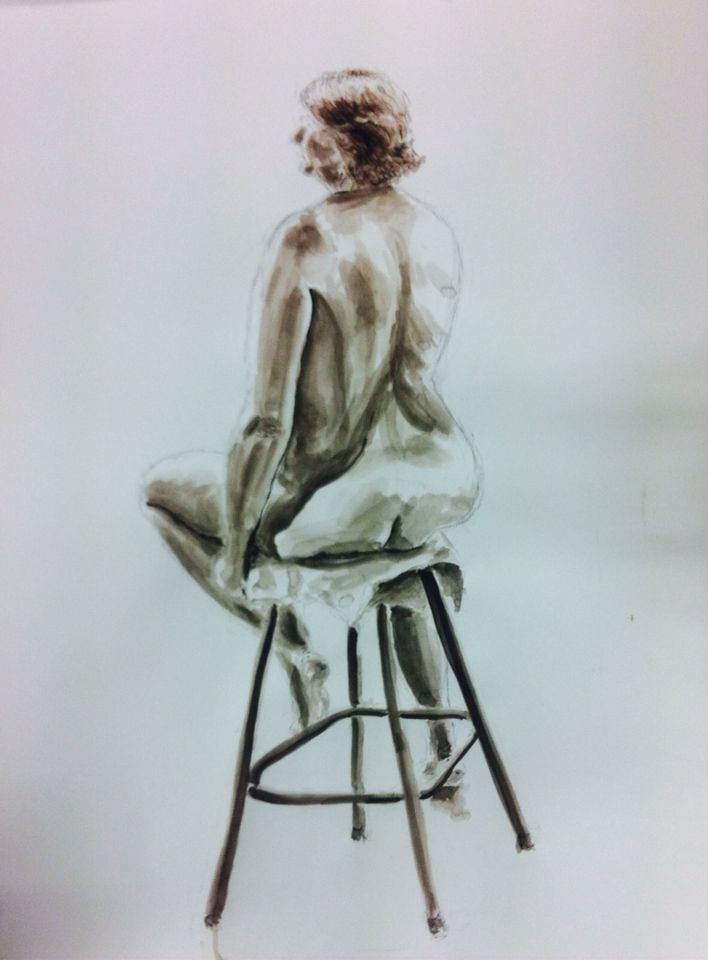 Life drawing with charcoal and ink