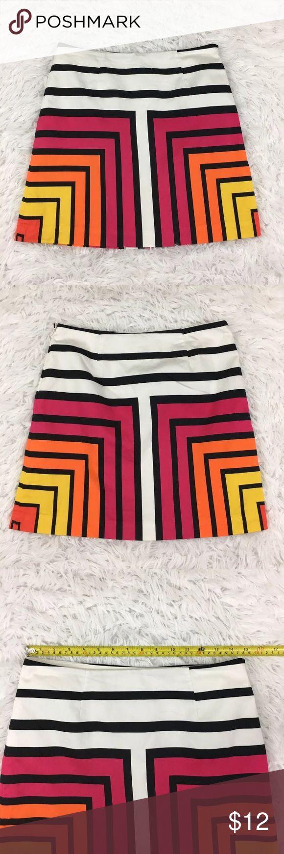 Worthington Geometric Print Bold Retro Mini Skirt Worthington Geometric Print Bold Retro Mini Skirt - Geometric patterned stripes and bold pink, orange, and yellow make this retro inspired a line mini pop! Worthington Skirts Mini