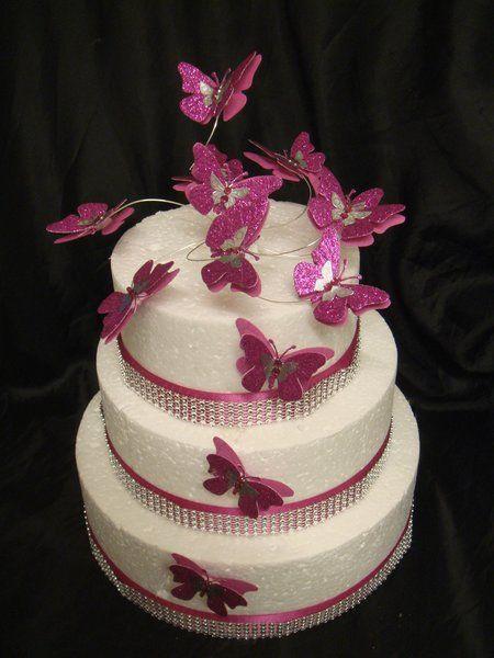 Silver Overlay Fuschia Pink Glitter Erfly Cake Topper Set Caketoppercelebrations Wedding Topperswedding Cakeserfly