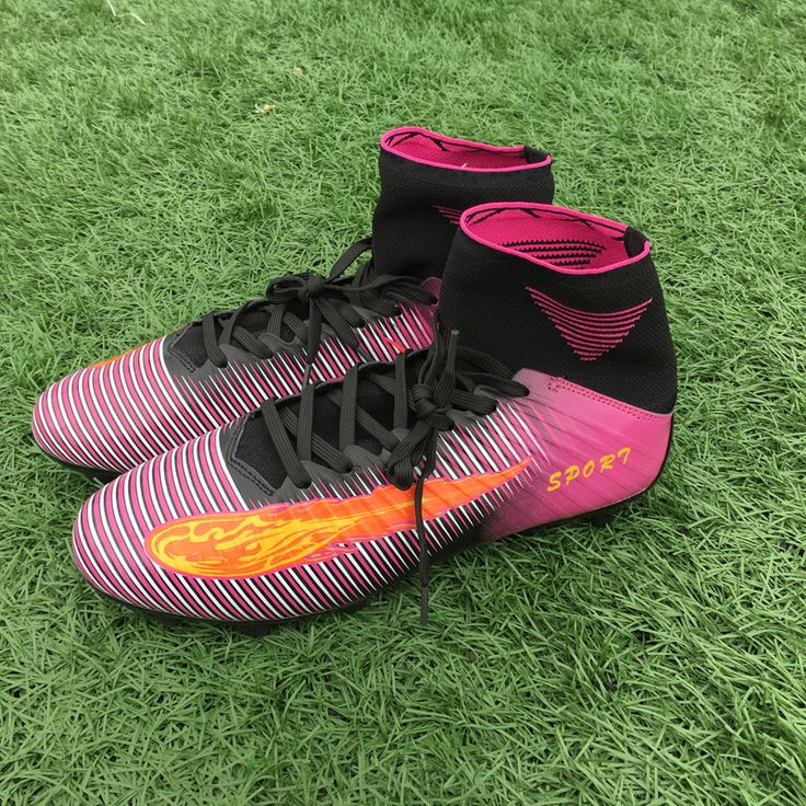 Men's Outdoor High Ankle Football Shoes Fg Long Spikes Professional Soccer Cleats Shoes Chuteira Futebol Size 39-44 S166