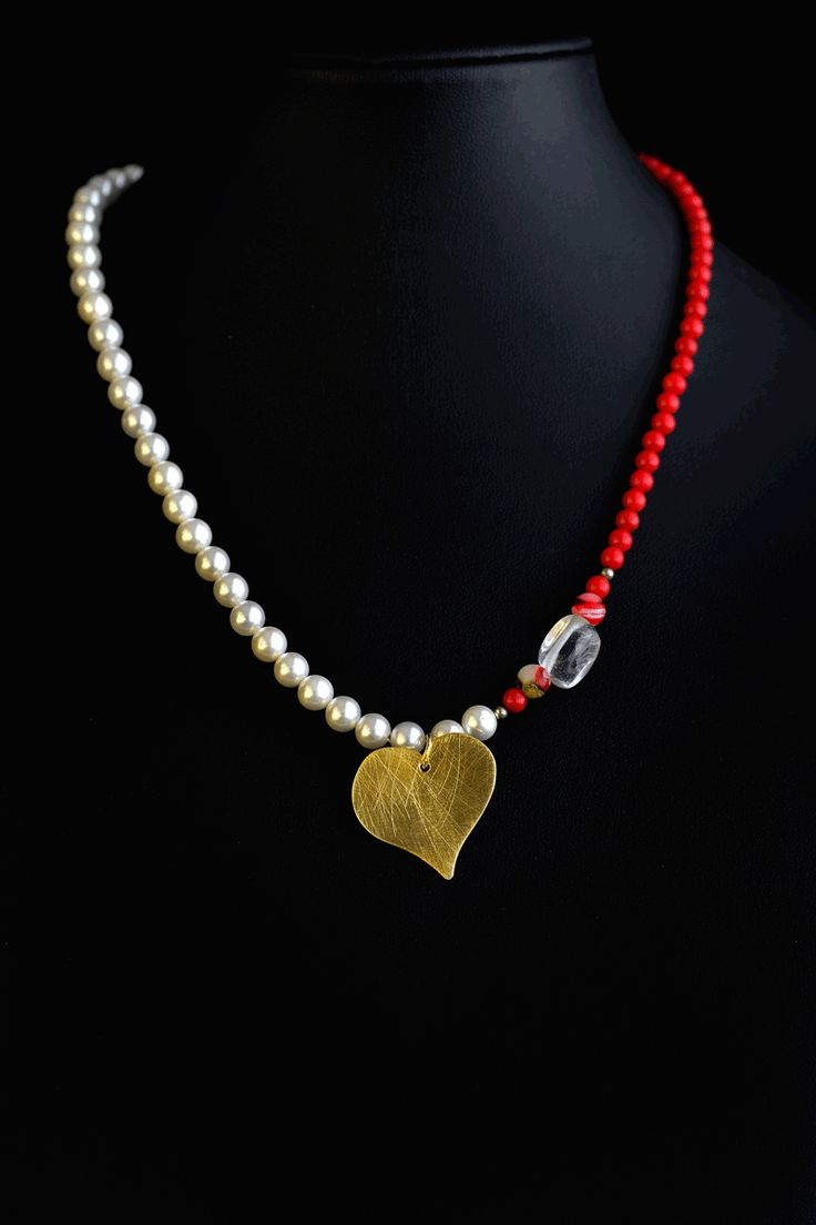 Necklace 3 - Handmade heart and necklace made of semiprecious stones- €90.00