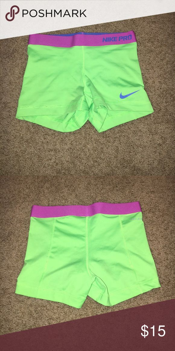 Nike pro spandex Xs neon green Nike pro spandex// too tiny for me only worn a couple times// great condition Nike Shorts