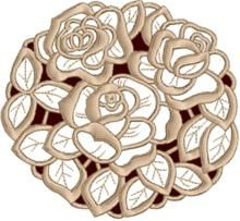 Advanced Embroidery Designs - Three Roses Medallion Cutwork Lace.