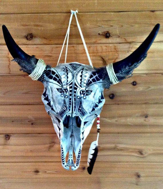 Real bison taxidermy skull hand painted in ink by ITsARTbySNOWBEE