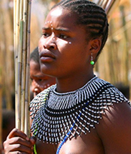 Zulu Woman At Royal Reed Dance Festival In Swaziland -2378