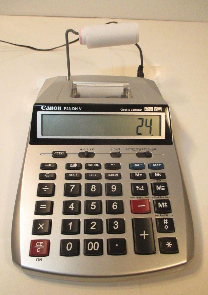 CANON P23-DH V 12 Digits 2 Color Print CALCULATOR Clock  Calendar