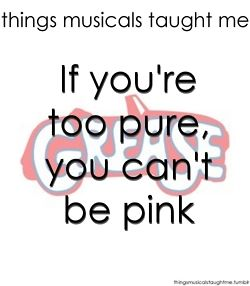 """she looks too pueh' to be pink"" *sigh* I always was, dispite my life's wish to be a Pink Lady..."