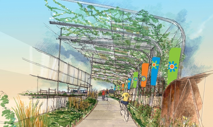 Great Rivers Greenway's vision for the reconstructed Trestle, an abandoned railway running from Branch Street, across I-70 and ending at 14th Street in the heart St. Louis City, includes the use of recycled materials for site amenities. The amenities will provide shade as well as seating and rest areas. The drawing seen here shows GRG's plan for the segment of the Trestle running over I-70. Native Missouri greenery will help shade walkers and pedestrians from the sun and heat. #BetterSTL