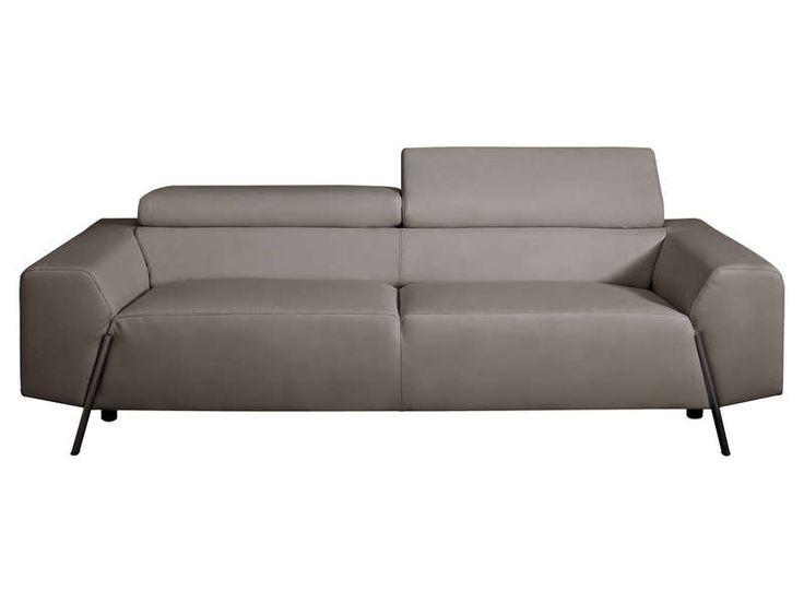 Canapé fixe 3 places NEWDEN LORENZO coloris gris prix promo Canapé cuir Conforama pas cher 1 399.00 € TTC au lieu de 1 747 €