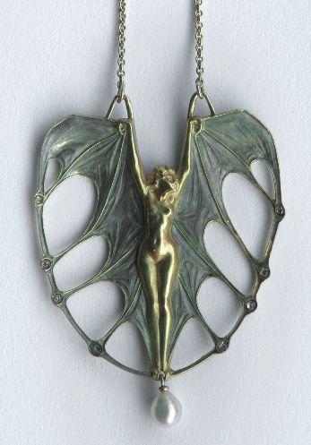 LALIQUE Bat woman pendant necklace, gold, enamel, diamonds, pearl; signed