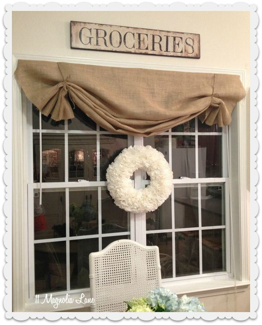 how to DIY burlap window valance  Tie with twine and/or add red ribbon or burlap ribbon with red checked buttons to make it more Christmasy. Use on kitchen window and add as shade? To two hall windows.